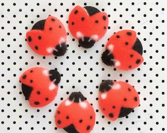 Ladybug Sugar Decorations (24), Bug Cupcake Toppers, Ladybug Cake Toppers, Ladybug Party Decor, Ladybug Baby Shower, Garden Party