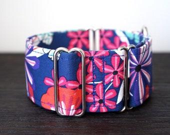 Martingale collar, Greyhound Collar, Galgo Collar, Saluki Collar, Sighthound Collar, Floral Collar, Navy Blue Martingale, Cotton Dog Collar