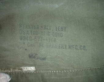 """US Army shelter half """"pup tent"""" LaCrosse Garment Mfg. 1971"""