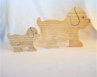 """wooden puzzle """"Puppy"""" in natural pine saw jigsaw """"small and large model"""". Quantity: 6"""
