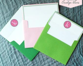 Printed Matching Envelope Liner   A2 Sized Liner   Wedding Thank You Card   Bridal Shower Gift   Personalized Custom Monogram Envelope Liner