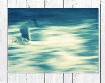 Coastal Wall Art Prints   Abstract Seagull Wall Art Print   Beach House Decor Photography Prints   Ethereal Ocean Waves Wall Decor Art Print