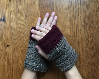 Plum & Coffee fingerless womens gloves