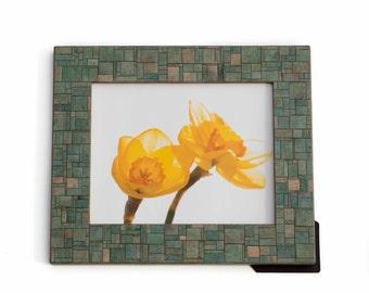 Mosaic Frame - Patchwork Design - Photo Holder - Handmade Paper - Wedding Gift - Manly Decor - Table  Top - Easel Frame - Geometric Design