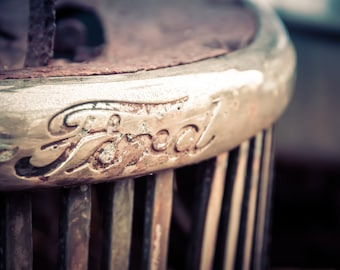 Ford Emblem, Vintage Truck Photography, Antique Truck Art, Classic Car, Truck Grill, Man Cave Wall Art,Mancave Decor,Garage Art,Gift for Men