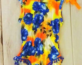 Boutique Floral Romper, orange and blue