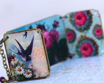Peek A Boo Bird Bouquet Necklace - Bird Necklace - Flower Necklace - Bird Jewelry - Pink - Blue - Locket - Shrink Plastic - Woodland Jewelry
