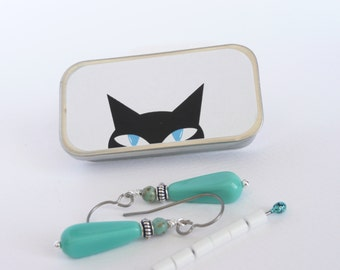 Emergency Earring Kit . Peeking Cat Tin . Spare Earrings . Earring Clutch . Hypo-Allergenic . Titanium Earwires . Thank You Gift Jewelry