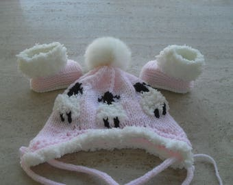 Sale item. Knitted Baby Girl Fur Booties And Hat, Baby Girl Booties And Pom Pom Hat, Baby Girl Boots And Hat,  Size 3 to 6 Months Ready Made