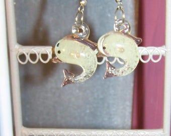 lampwork glass Dolphin earrings