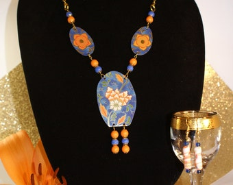Vintage tin necklace-tin jewelry-Gift for her-recycled glass beads-10year anniversary gift-orange beads-blue beads