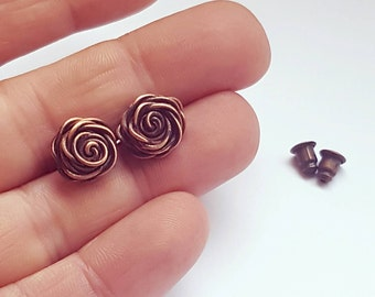Small copper studs, stud rose earrings, wire wrapped jewelry earrings studs, copper wire jewelry handmade roses, small rose studs copper