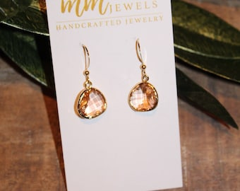 Champagne Crystal Teardrop Earrings   wedding jewelry, prom jewelry, bridesmaids gift
