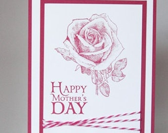Happy Mothers Day Card, Red Rose Hand Made Card, Card For Grandmother
