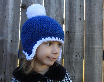 TODDLER'S  WINTER HAT, Snowball Pom Pom, Ear flaps, Crochet, Warm, Ages 1 - 3, Boy or Girl