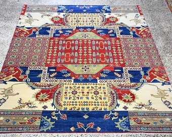 brand new persian  geometric kazak 8'X10' rug hand knottedIN HAND SPUN WOOL