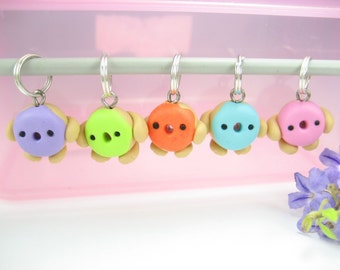 Donut Stitch Markers, knitting accessories, unique gifts for knitters her womens polymer clay cute kawaii charms knit donut charms food