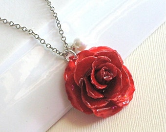 Real  Flower Necklace - Red, Real Rose, Natural Preserved, Real Flower Jewelry, Sterling Silver, Nature Jewelry