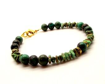 Men's Green and Brown Magnesite Bracelet – Men's Green and Brown Beaded Bracelet