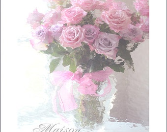 Roses Photography, Shabby Chic Roses Print, Dreamy Pink Roses, Shabby Chic Decor, Baby Girl Nursery Decor, Pastel Paris Roses Wall Art Print