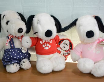 Snoopy Plush Lot - Belle, Spike, and Snoopy - Dakin New with Tags - Peanuts, Charlie Brown Toy, Stuffed Animal Plush