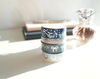 Galaxy Collection - iridescent constellations, moons, rose gold stars, and light gold foil bow washi set