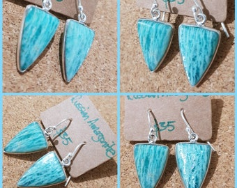 Russian Amazonite 925 Silver Unique Earrings