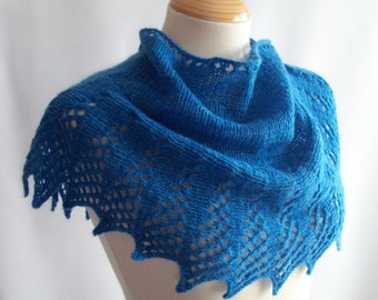 Wool Shawlette, Knit Shawlette, Blue Shawlette, Knitted Shawlette, Blue Scarf, Knit Scarf, Pure Wool, Gift for Her, Birthday Gift
