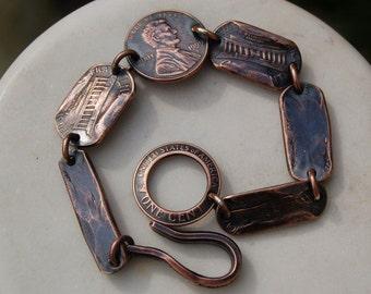 COPPER PENNY BRACELET  -  Copper Bracelet - Unique Penny Bracelet - Unique Gift  For Men or Women