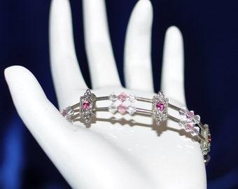 Pink & White Swarovski Crystal Form Bracelet - Free Shipping