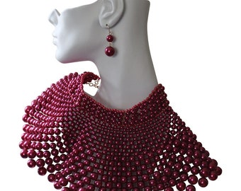 Exquisite Large Cranberry Pearl Collar Necklace And Earrings Statement Jewelry Disco Jewelry Boho Style