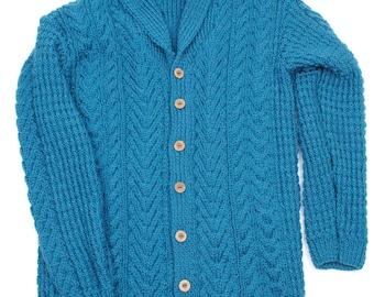 Male Soft Aran Shawl Collar Cardigan - Teal