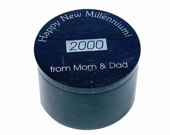 Personalized Black Marble Keepsake Box - Laser Engraved