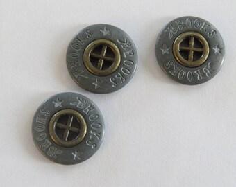 Button * vintage metal has inscription Brooks (set of 3)