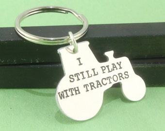 Tractor Keychain - Tractor Keyring -Tractor Key Chain - Tractor Key Ring - Gift For Dad - Gift For Grandpa - Silver Keychain - Gift Under 20