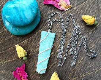 Amazonite Necklace, Calming, Soothing, Amazonite, Tranquillity, Peace, Metaphysical, Zen, Worry Relief, Positive Energy