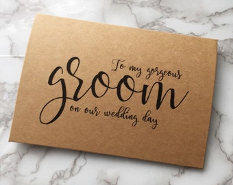 To my gorgeous groom on our wedding day rustic wedding card