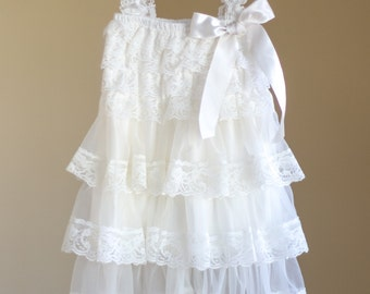 Ivory Vintage Girl Lace Dress, Toddler Lace Dress, Lace Dress, Vintage Lace Dress, Special Occasion Girl Dress, Country Flower Girl Dress