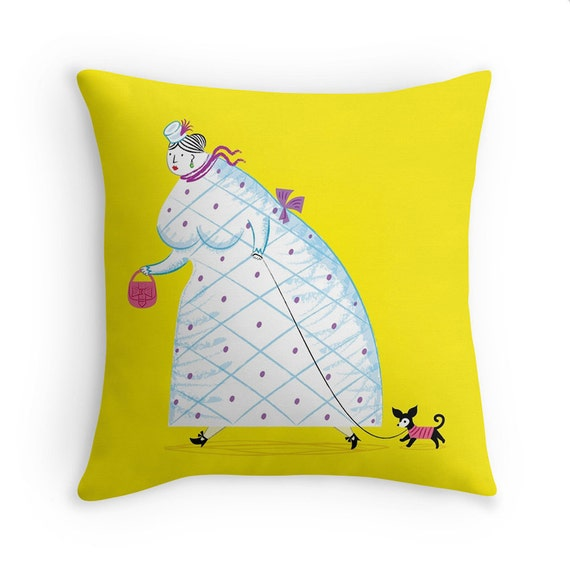 """Big Girl - Yellow illustrated Cushion cover / Throw Pillow cover (16"""" x 16"""") by Oliver Lake"""