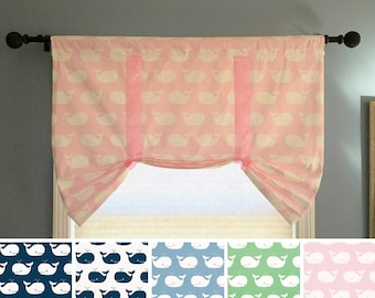 Faux Roman Shade Valance, Butterfly Valance, Tie up Valance, Stationary Roman Shade, Whales Tale Fabric, Nautical Roman Pink/Blue/Green/Navy