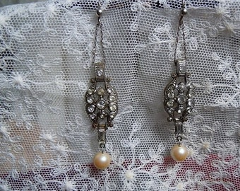 1920's Art Deco Faux Diamante Earrings