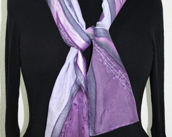 Purple Silk Scarf. Lavender Hand Painted Silk Shawl. Handmade Silk Scarf LAVENDER AROMA. Size 8X54. Birthday, Bridesmaid Gift. Gift-Wrapped