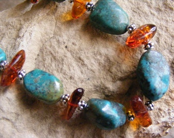 Southwest Lux Turquoise and Amber Necklace Lot 2475