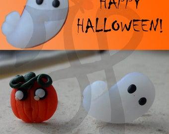 Pumpkin and Ghost style earrings kawaii