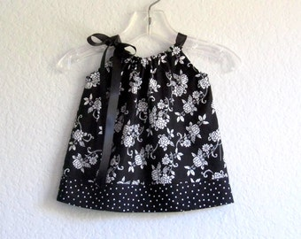 Baby Girls Black and White Dress - Pillowcase Dress and Bloomers Outfit - Black and White Floral Sun Dress - Size Nb, 3m, 6m, 9m, 12m or 18m
