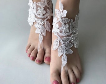 Beach Wedding Barefoot sandals, White or ivory Bridal Sandals, Beach wedding, foot jewelry  Bridesmaid sandals, Bridal Barefoot anklets