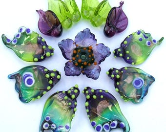 Lampwork Glass Flower Beads for Jewelry Making, Set of Purple Green Butterfly Wings with Flower and Leaves, Made to Order