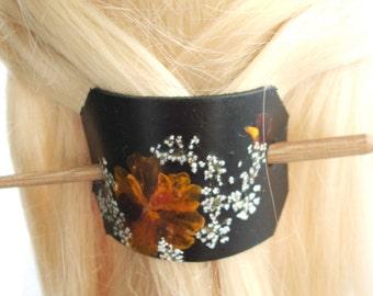 Leather Stick Barrette, Leather Stick Barrette With Real Pressed Flowers, Hair Barrette, Handmade Stick Barrette, Unique Stick Barrette