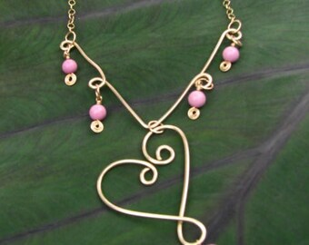 Pink Turquoise and Gold Filled Wire Heart Necklace