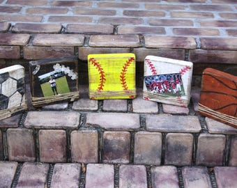 Block picture frame; sports themed picture frames; handmade distressed picture frames; football; soccer; basketball; baseball; softball
